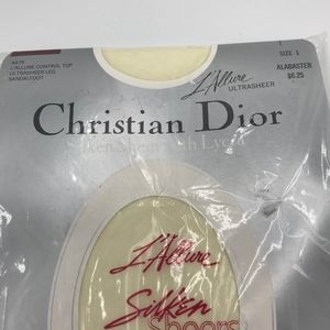 Vintage Christian Dior Pantyhose Sandalfoot Alabaster White